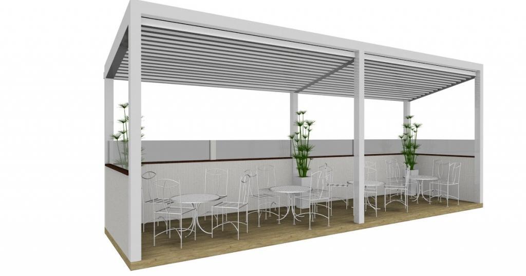 Struttura esterna con frangisole per copertura dehor plateatico di bar o ristoranti - render progetto